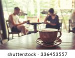 Cup Of Coffee On Table In Cafe...