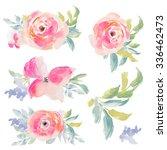 pink watercolor flowers bouquets | Shutterstock . vector #336462473