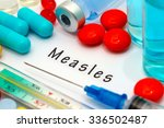 measles   diagnosis written on... | Shutterstock . vector #336502487