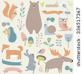 set of forest animals in... | Shutterstock .eps vector #336517367