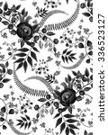 Stock vector seamless black and white floral wallpaper 336523127