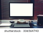 mock up home desktop with... | Shutterstock . vector #336564743