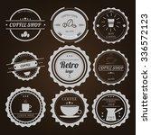 set of vintage logos on brown... | Shutterstock .eps vector #336572123