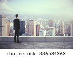 businessman on the roof and... | Shutterstock . vector #336584363