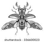 stag beetle tattoo. psychedelic ... | Shutterstock .eps vector #336600023