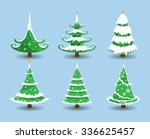 christmas tree with snow.... | Shutterstock .eps vector #336625457
