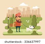 flat cartoon character walking... | Shutterstock .eps vector #336637997