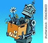 evil robot comes to work pop... | Shutterstock . vector #336638603