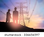 silhouette engineer looking  a... | Shutterstock . vector #336656597