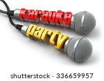 karaoke party concept. two... | Shutterstock . vector #336659957