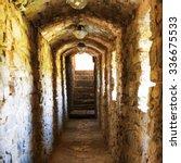 dark corridor in dungeon with...