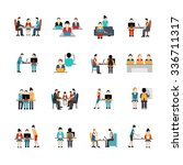 coworking space flat icons set... | Shutterstock .eps vector #336711317