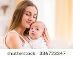 portrait of happy mother and... | Shutterstock . vector #336723347