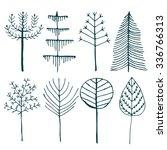 forest trees set. handdrawn...   Shutterstock .eps vector #336766313