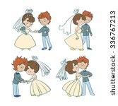 wedding doodle comic set. cute... | Shutterstock .eps vector #336767213