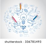 idea concept with light bulb... | Shutterstock .eps vector #336781493