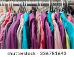 clothes hang on a shelf in a... | Shutterstock . vector #336781643