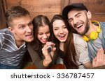 two men and two ladies spending ...   Shutterstock . vector #336787457