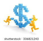 3d figures putting toy blocks... | Shutterstock . vector #336821243