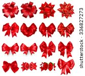 set of realistic beautiful bows ... | Shutterstock .eps vector #336827273