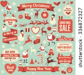 christmas and new year retro... | Shutterstock .eps vector #336872327