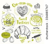 set of hand drawn cake  churros ... | Shutterstock .eps vector #336885767
