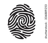 "vector black finger print with ""... | Shutterstock .eps vector #336889253"