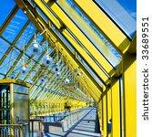 yellow glass corridor in office ...   Shutterstock . vector #33689551