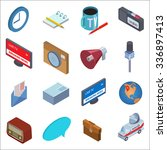 flat style isometric news icons ... | Shutterstock .eps vector #336897413