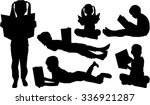 silhouettes of children with... | Shutterstock .eps vector #336921287
