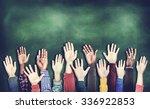 hands raised togetherness... | Shutterstock . vector #336922853
