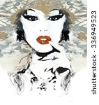 woman face. hand painted... | Shutterstock . vector #336949523