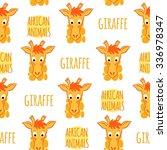 giraffe orange with lettering... | Shutterstock .eps vector #336978347
