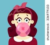 the girl blows gum | Shutterstock .eps vector #336979103