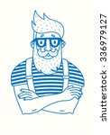 line drawing of a hipster with... | Shutterstock .eps vector #336979127