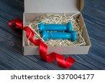 two blue dumbbells in present...   Shutterstock . vector #337004177