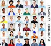 portraits of multiethnic mixed... | Shutterstock . vector #337009817
