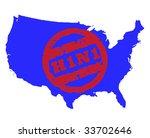 red swine flu stamp on blue map ...   Shutterstock . vector #33702646