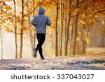 young man running in the park... | Shutterstock . vector #337043027