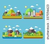 ecology city scenery concept in ... | Shutterstock . vector #337056623