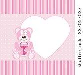 frame bear holding a gift vector | Shutterstock .eps vector #337057037