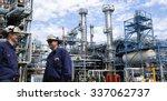 refinery workers inside large... | Shutterstock . vector #337062737