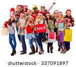 women in santa hat holding sign ... | Shutterstock . vector #337091897