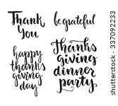 happy thanksgiving hand drawn... | Shutterstock .eps vector #337092233