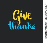 give thanks handmade sign.... | Shutterstock .eps vector #337092437