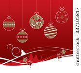 red and gold christmas baubles... | Shutterstock .eps vector #337105817