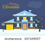 Big House With Christmas Light...