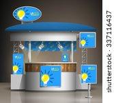 blue exhibition stand design... | Shutterstock .eps vector #337116437