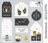 vintage christmas gift tags.... | Shutterstock .eps vector #337123793