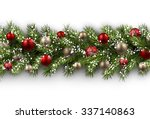 white card with fir branch and... | Shutterstock .eps vector #337140863